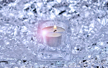 Christmas background stock images. Christmas candle. Silver Christmas Background