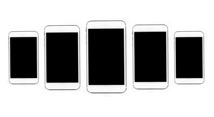 Beautiful luxury white Smartphone isolated on the white background