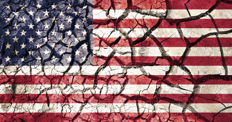 american flag on cracked ground background
