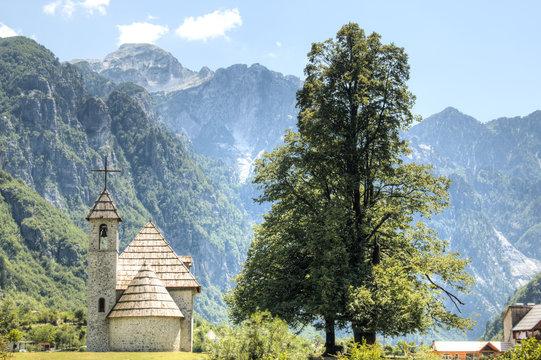 Mountain landscape in Theth, Albania.