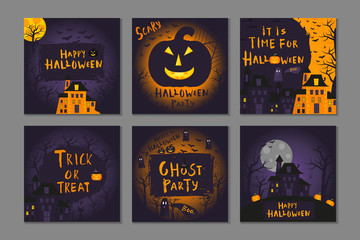 Collection of 6 happy halloween poster design with traditional symbols