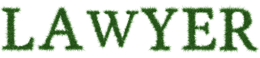Lawyer - 3D rendering fresh Grass letters isolated on whhite background.