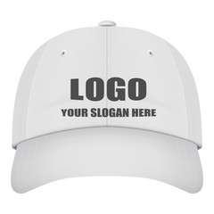 Realistic Front View White Baseball Cap With Logo Isolated On A White Background. Vector Illustration. Hats Collection.