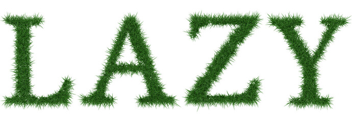 Lazy - 3D rendering fresh Grass letters isolated on whhite background.