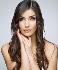 Face portrait of beautiful woman with natural clean skin.