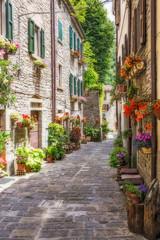 Keuken foto achterwand Smal steegje Narrow old street with flowers in Italy
