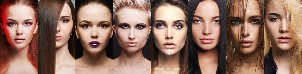 Beauty collage.Makeup beautiful girls