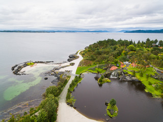 Tropical garden on an island in norway, aerial view