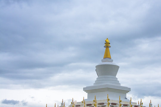 The white tower of the Tibetan temple in Daocheng, Sichuan, China