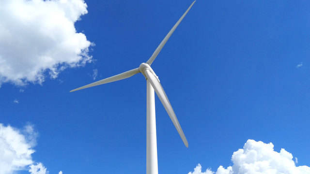 Wind turbines generating electricity with blue sky, Zhangjiakou, China