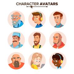 People Characters Avatars Set Vector. Cartoon Flat Isolated Illustration