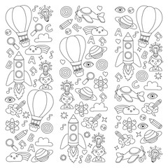 Vector set of doodle icons Notepad checked paper - creativity and inspiration, idea and imagination, innovation and discovery, think outside the box