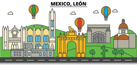 Mexico, Leon. City skyline, architecture, buildings, streets, silhouette, landscape, panorama, landmarks, icons. Editable strokes. Flat design line vector illustration concept