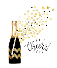 Christmas Card with black and gold champagne bottle
