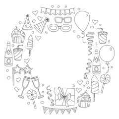 Set of birthday party design elements. Kids drawing. Doodle icons Colorful balloons, flags, confetti, cupcakes, gifts, candles, bows and decorative ribbons. Vector illustration