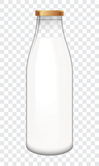 Transparent bottle full of milk. Vector illustration easy to edit.