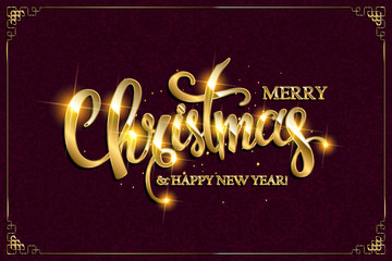Vector Merry Christmas text with glitter elements.