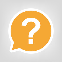 Gelbe Sprechblase - Fragezeichen eckig
