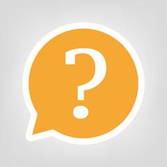 Gelbe Sprechblase - Fragezeichen rund