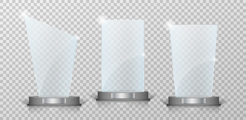 Empty Crystal glass trophy awards set. Glossy transparent trophy for award on transparent background. Vecror illustration