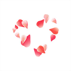 Pink Red flying petals isolated on white background. Sakura petals. Heart of petals. Vector