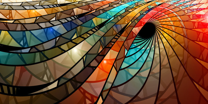 Colorful stained glass spiral