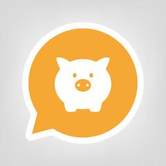 Gelbe Sprechblase - Sparschwein