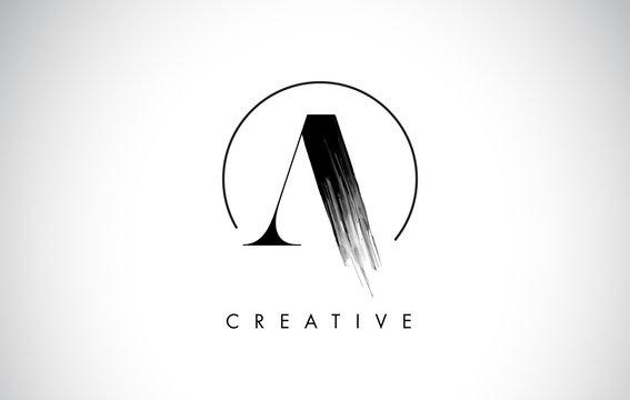 A Brush Stroke Letter Logo Design. Black Paint Logo Leters Icon.