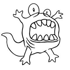 Cartoon monster big head. Vector illustration.ƒ