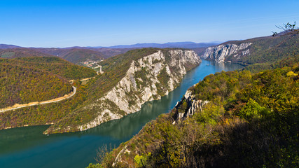 Highest vertical cliffs over Danube river at Djerdap gorge and national park in east Serbia