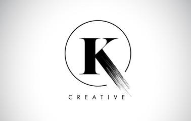 K Brush Stroke Letter Logo Design. Black Paint Logo Leters Icon.