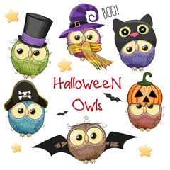 Six Cute Halloween Owls