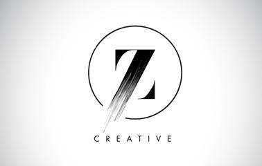 Z Brush Stroke Letter Logo Design. Black Paint Logo Leters Icon. Wall mural