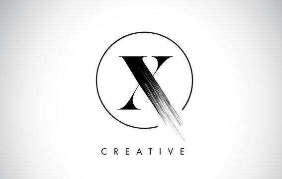 X Brush Stroke Letter Logo Design. Black Paint Logo Leters Icon.