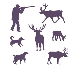 Silhouettes collection. Hunters, hunted deers and  dogs. Vector illustration.