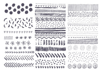 Set of vector hand drawn ink textures. Collection of hand drawn design elements.