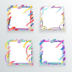 Paper Abstract Frame Flyer Geometric Background Template Icons Set Mockup Vector Illustration