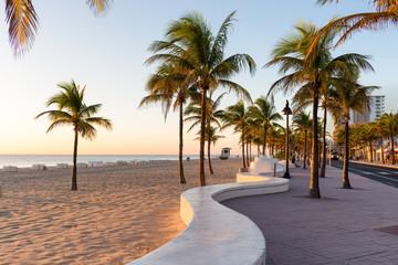 Sunrise at Fort Lauderdale Beach and promenade, Florida