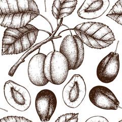 Vector seamless pattern with vintage plum tree illustration
