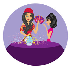Fortune teller woman reading future on magical crystal ball