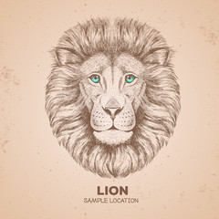 Retro Hipster animal lion. Hand drawing Muzzle of lion