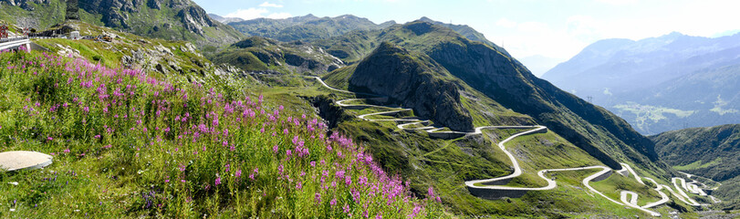 Tremola old road which leads to St. Gotthard pass Wall mural