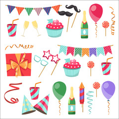 Flat vector icons Celebration party carnival festive icons set. Colorful symbols and elements - mask, gifts, presents, balloon, hat, cap