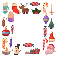 Set of flat Christmas icons for banners Xmas Happy new year Santa Claus Christmas decoration Christmas ball Flat christmas icons
