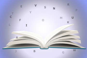 Opening BlueBook with Alphabets, information concept