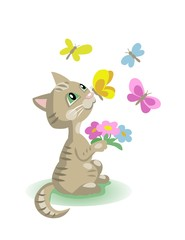 Kitten with flowers and butterflies. Vector cartoon illustration isolated on white.