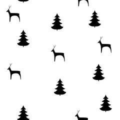 Deer and christmas tree seamless pattern