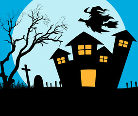 Scary House Witch Flying Vector Graphic