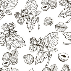 Seamless vector pattern with linear outline hazelnut. Sketches of nuts in vintage style