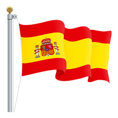Waving Spain Flag Isolated On A White Background. Vector Illustration. Official Colors And Proportion. Independence Day